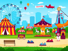 Amusement Park. Attractions Entertainment Joyful Amuse Carnival Fun Circus Carousel Game Funfair Landscape Background