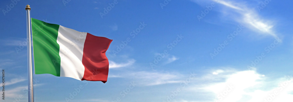 Fototapety, obrazy: Flag of Italy rise waving to the wind with sky in the background
