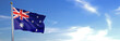 Leinwanddruck Bild - Flag of Australia rise waving to the wind with sky in the background