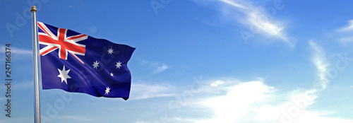Obraz na plátně Flag of Australia rise waving to the wind with sky in the background
