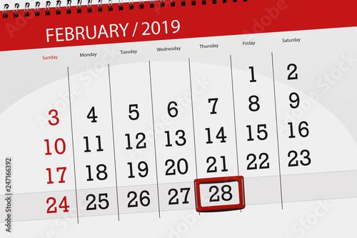 Fotografie, Tablou  Calendar planner for the month february 2019, deadline day, 28, thursday