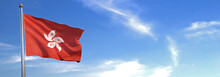 Flag Of Hong Kong Rise Waving To The Wind With Sky In The Background
