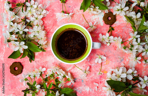 Fotografie, Obraz  Cup of coffee and cherry blossom flowers