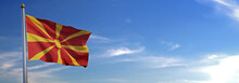 Flag Of Macedonia Rise Waving To The Wind With Sky In The Background