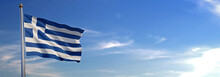 Flag Of Greece Rise Waving To ...