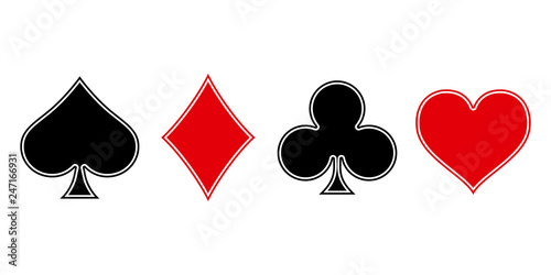 Canvas Print Suit deck of playing cards on white background