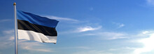Flag Of Estonia Rise Waving To...