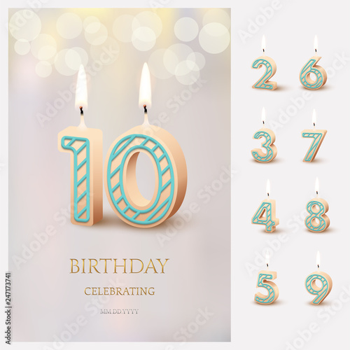 Fototapeta Burning number 10 birthday candles with birthday celebration text on light blurred background and burning birthday candle set for other dates