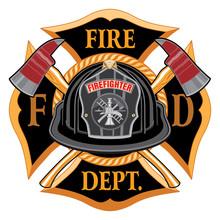Firefighter, Fireman, Volunteer, Axe, Cross, Illustration, Black, White, Helmet, Vintage, Tool, Emergency, Fire, Flames, Ladder, Equipment, Hook, Nozzle, Rescue, Department, Symbol, Red, Safety, Sign,