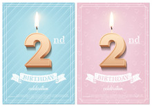 Burning Number 2 Birthday Candle With Vintage Ribbon And Birthday Celebration Text On Textured Blue And Pink Backgrounds In Postcard Format. Vector Vertical Second Birthday Invitation Templates.