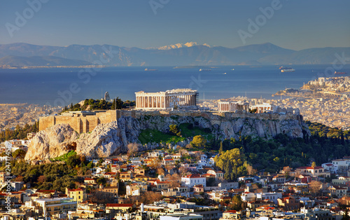 Deurstickers Athene Aerial view over Athens with te Acropolis and harbour from Lycabettus hill, Greece at sunrise