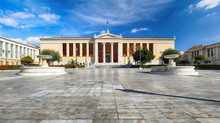 Building Of The National & Kapodistrian University Of Athens In Panepistimio Is One Of The Landmarks Of Athens, Greece