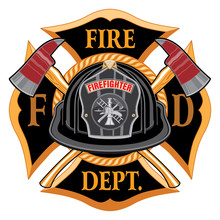 Fire Department Cross Vintage With Black Helmet And Axes Is An Illustration Of A Vintage Fireman Or Firefighter Maltese Cross Emblem With A Black Volunteer Firefighter Helmet With Badge.