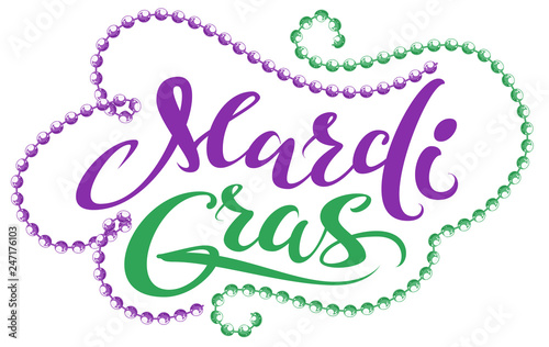 Mardi Gras handwriting text for greeting card festival fat tuesday Wallpaper Mural