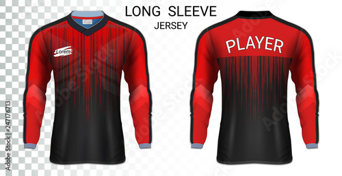 Fényképezés  Long sleeve soccer jerseys, T-Shirt sport mockup template, Realistic graphic design for Football Uniform, Goalkeeper, Motocross, Unisex Cycling, etc, Easily to change logo, name, color in your styles