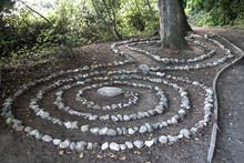 Steinspiralen In Form Eines Irrgartens Am Strand Von Sassnitz Auf Rügen