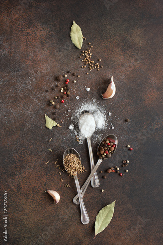 Fotobehang Aromatische Food cooking background with spices and sea salt