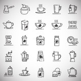 Tea and coffee outline icons set on white background for graphic and web design, Modern simple vector sign. Internet concept. Trendy symbol for website design web button or mobile app