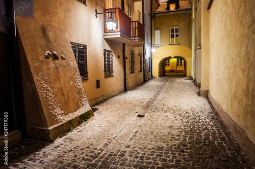 Fototapeta Winter Night in Old Town of Warsaw obraz