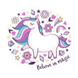 "Vector motivation card with cute unicorn, stars, flowers, crystals and text ""Believe in magic"" isolated on white background. Magical cartoon unicorn poster"