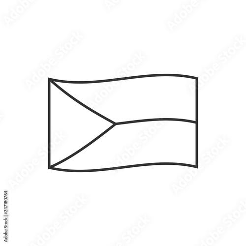 Photo  Czech Republic flag icon in black outline flat design