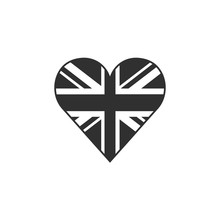 United Kingdom Flag Icon In A Heart Shape In Black Outline Flat Design. Independence Day Or National Day Holiday Concept.