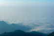 sea of fog on top of the mountain in pompee national park at Kanchanaburi, Thailand