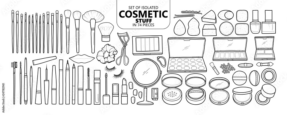 Fototapeta Set of isolated cosmetic stuff in 74 pieces.