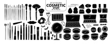 Set Of Isolated Silhouette Cosmetic Stuff In 74 Pieces.