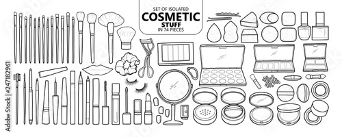 Fototapeta Set of isolated cosmetic stuff in 74 pieces. obraz