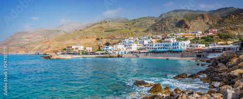 Fotobehang Europa Scenic village of Hora Skafion and the mediterranean sea in Crete, Greece