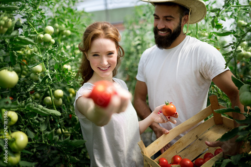 Two young people working in greenhouse.
