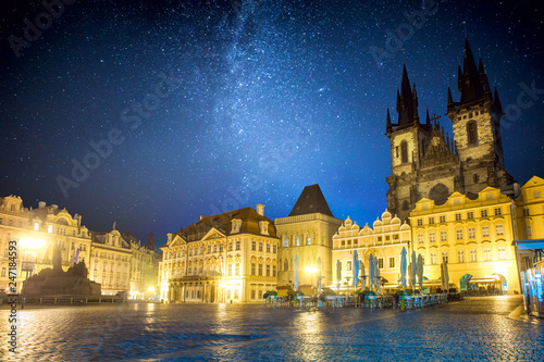 Fotobehang Centraal Europa Famous Old Town Square at night in Prague with stars sky