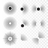 Set of radar icons. Sonar sound waves. Vector