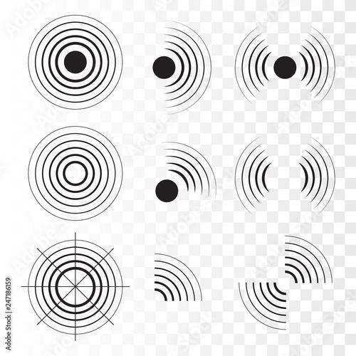 Cuadros en Lienzo  Set of radar icons. Sonar sound waves. Vector
