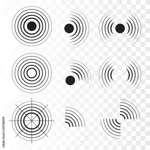 Photo  Set of radar icons. Sonar sound waves. Vector