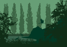 Realistic Illustration Of A Wetland Landscape With A Lake Or River, Reeds And Poplars On The Shore. Three Storks Under A Green Sky, Vector