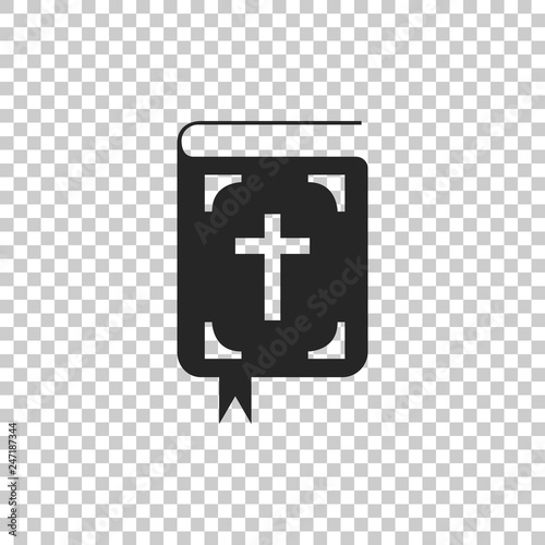 Bible book icon isolated on transparent background. Holy Bible book sign. Flat design. Vector Illustration