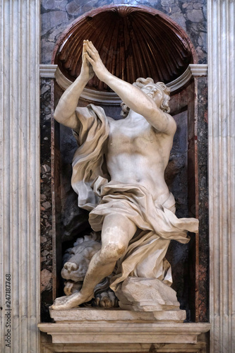 Daniel and the lion marble statue by Lorenzo Bernini in The Chigi chapel in Church of Santa Maria del Popolo, Rome, Italy Fotomurales