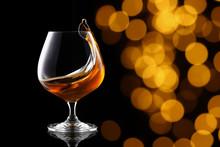 Splash Of Brandy In Snifter Glass