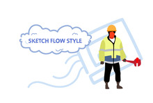Repairman Holding Screw Wrench Plumber Man Wearing Uniform And Helmet Professional Occupation Concept Male Character Full Length Sketch Flow Style Horizontal