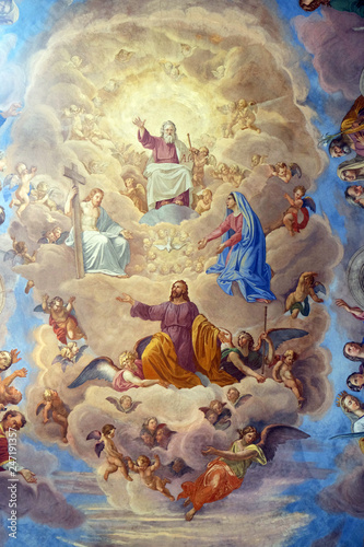 Photo Apotheosis of St James by Silverio Capparoni fresco on the ceiling of the Church