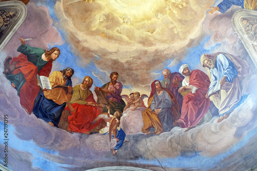 The evangelists and prophets detail of frescoes Apotheosis of St James by Silver Wallpaper Mural