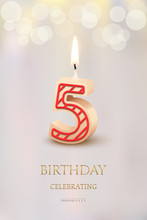 Burning Number 5 Birthday Candle With Birthday Celebration Text On Light Blurred Background. Vector Fifth Birthday Invitation Template.