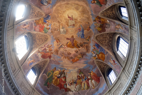 Apotheosis of St James by Silverio Capparoni fresco on the ceiling of the Church Wallpaper Mural