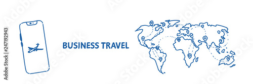 mobile application business travel concept tourism company agency world map with pins international traveling by plane sketch flow style horizontal
