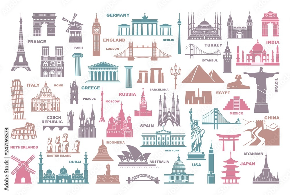 Fototapety, obrazy: Icons world tourist attractions and architectural landmarks