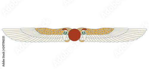 Fotografia Egypt color ornamental wings and snake composition, ornamental element of Ancient Egypt