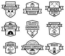 Set Of Coal Mining Company Emblem Templates. Design Element For Logo, Label, Emblem, Sign, Badge.