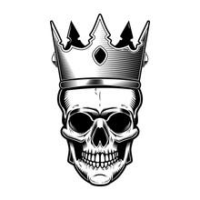 Skull With King Crown. Design Element For Poster, Emblem, Sign, T Shirt, Sign.